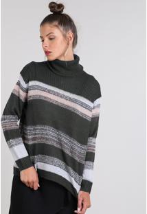 Suéter Feminino Amplo Em Tricô Listrado Gola Rolê Cinza Escuro