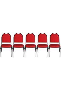 Kit 05 Cadeiras Pethiflex Essencial Hot Fixável Couro Vermelho