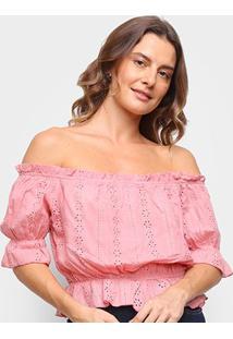 Blusa Eagle Rock Ombro A Ombro Renda Feminina - Feminino-Rosa