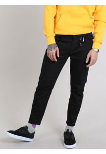 Calça Jeans Masculina Com Mosquetão Preta
