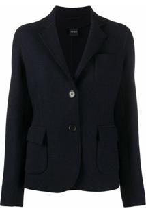 Aspesi Blazer De Lã Com Pesponto Exposto - Azul