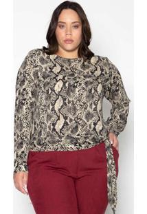 Blusa Almaria Plus Size Leeban Crepe Estampado Beg
