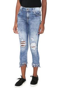 1cfa7742c ... Calça Jeans Coca-Cola Jeans Skinny Cropped Destroyed Azul