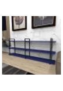 Aparador Industrial Aço Cor Preto 180X30X68Cm (C)X(L)X(A) Cor Mdf Azul Modelo Ind33Azapr