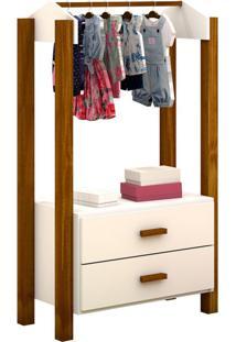 Guarda-Roupa Closet Modulado Infantil Franca 2 Gv Branco E Marrom