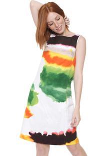 Vestido Desigual Curto Estampado Branco/Laranja