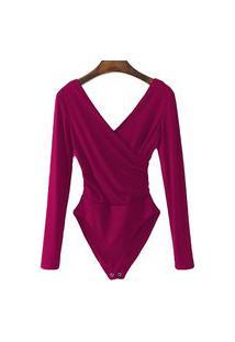 Body Transpassado Luxo Blusa Camisa Manga Longa Frozini Festa Luxo Pink