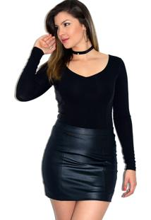 Body Up Side Wear Manga Longa Preto - Preto - Feminino - Viscose - Dafiti
