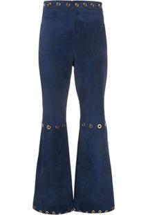 Alberta Ferretti High-Waisted Suede Trousers - Azul