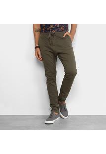Calça Redley Confort Sarja Cordão Masculina - Masculino-Verde Militar
