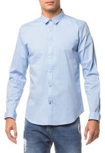 Camisa Ml Masc Slim Básica - Azul Claro - P