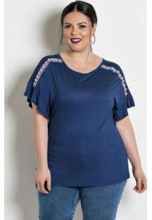 Blusa Com Pérolas Plus Size Marinho