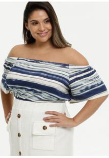 Blusa Feminina Listrada Ombro A Ombro Plus Size Marisa