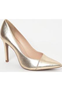 Scarpin Em Couro Metalizado- Dourado- Salto: 9,5Cmloucos E Santos