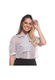 Blusa Feminina Poá Angelical Transparente Manga Bufante Laço Branco P Branco
