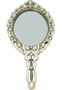 Espelho De Mão Redondo Decorativo Em Dourado Com Cristais - 20 X 9 Cm