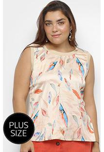 Blusa Regata Heli Plus Size Estampada Feminina - Feminino-Bege