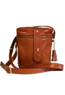 Bolsa Line Store Leather Cantil Couro Whisky Rústico. - Kanui