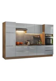 Cozinha Completa Madesa Lux Com Armário E Balcão 9 Portas 5 Gavetas Rustic/Cinza Rustic