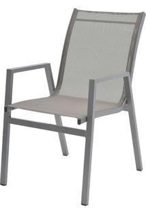 Cadeira Enseada Com Bracos Tela Cinza Base Cinza - 38738 - Sun House