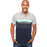 f2508b0a888a3 Camiseta Polo American 028 Listras Cinza  Azul Marinho