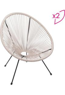 Jogo De Cadeiras Acapulco- Fendi & Preto- 2Pã§S- Or Design