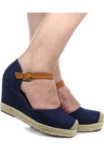 Anabela Spadrille Jeans Bico Fechado