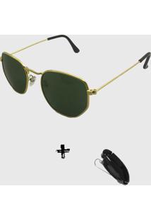 Oculos De Sol Feminino Volpz Hexagonal G15 Com Suporte Veicular