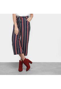 Calça Pantacourt Ms Fashion Listrada Amarração Feminina - Feminino-Marinho+Vermelho