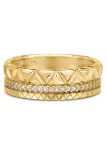 Anel Icona Ouro Amarelo E Diamantes Médio