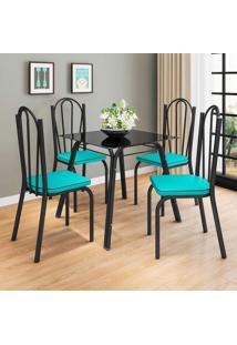 Conjunto De Mesa Com 4 Cadeiras Lotus I Preto Fosco Com Azul