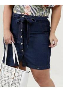 Saia Feminina Jeans Clochard Botões Plus Size