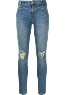 Twinset Calça Jeans Skinny Cintura Média - Azul