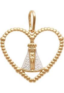 Pingente Prata Mil Coração Terço Vazado Nossa Senhora Aparecida Ródio Ouro