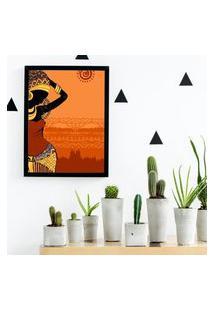 Quadro Decorativo Mulher Africana Color Preto - 20X30Cm