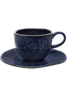 Conjunto 6 Xícaras De Chá Com Pires Oxford 92427 Ryo Safira Azul