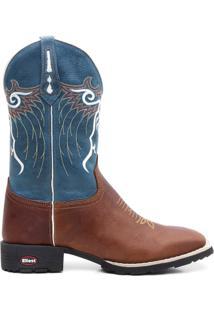 Bota Texana Crazy Horse Fossil Azul Marinho Lisa 0 - Masculino-Marrom+Azul