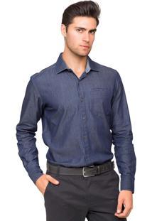 Camisa Manga Longa Tony Menswear Jeans Slim Fit Com Bolso Embutido