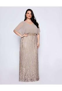 Vestido Almaria Plus Size Pianeta Longo Blousê Beg