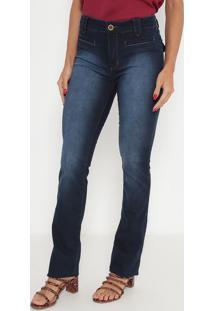 Jeans Bootcut Estonado- Azul Escuro- Ennaenna
