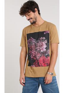 "Camiseta Masculina ""Viewless"" Manga Curta Gola Careca Caramelo"