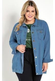 Jaqueta Jeans Com Bolsos Plus Size