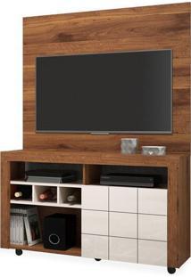 Rack Com Painel Para Tv Até 42 Polegadas, Rústico Terrara Com Off White, Pointer