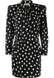 Saint Laurent Polka Dot Mini Dress - Preto
