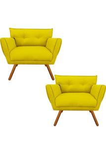 Kit 02 Poltrona Decorativa Anitta Suede Amarelo - D'Rossi - Amarelo - Dafiti