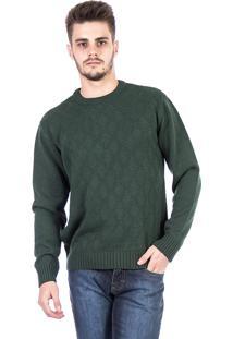 Blusa Tricot Carlan Decote Redondo Modern Diamond Verde