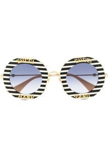 Gucci Eyewear Óculos De Sol Redondo Com Listras - Branco