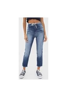 Calça Cropped Jeans Biotipo Slim Destroyed Azul
