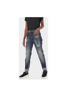 Calça Jeans Ellus Reta Destroyed Azul