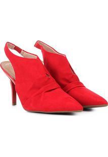 Scarpin Beira Rio Chanel Salto Fino - Feminino-Vermelho